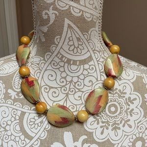 Yellow and Green Necklace with Big and Small Beads